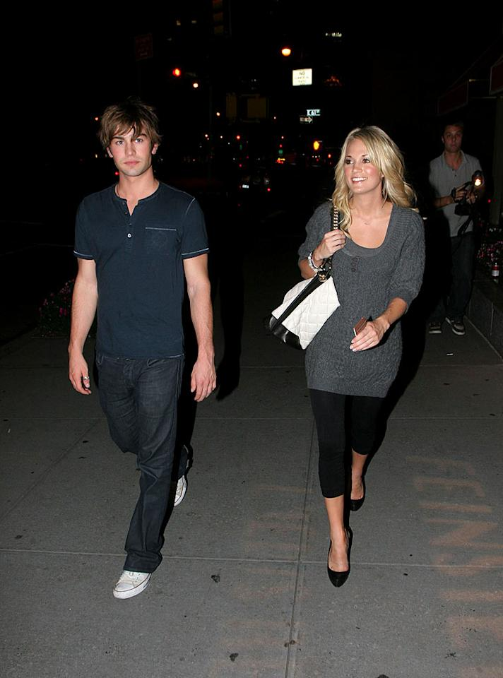 """Carrie Underwood admitted to taking things slow when she began seeing """"Gossip Girl's"""" Chace Crawford in October, unlike her ex Tony Romo, who's been linked to Sophia Bush and Jessica Simpson since their split. Turgeon/Rocke/<a href=""""http://www.infdaily.com"""" target=""""new"""">INFDaily.com</a> - October 23, 2007"""