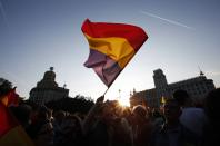 A man waves a Spanish Republican flag during an anti-royalist demonstration at Catalunya square in Barcelona June 2, 2014. Spain's King Juan Carlos said on Monday he would abdicate in favour of his son Prince Felipe, aiming to revive the scandal-hit monarchy at a time of economic hardship and growing discontent with the wider political elite. REUTERS/Albert Gea (SPAIN - Tags: POLITICS ROYALS TPX IMAGES OF THE DAY)
