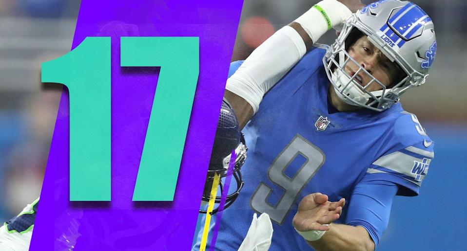 <p>Just when it looked like you could trust the Lions, they stumbled badly and got dominated by the Seahawks at home. Are you a playoff team in the NFC if you can't be more competitive against the Seahawks at home? (Matthew Stafford) </p>