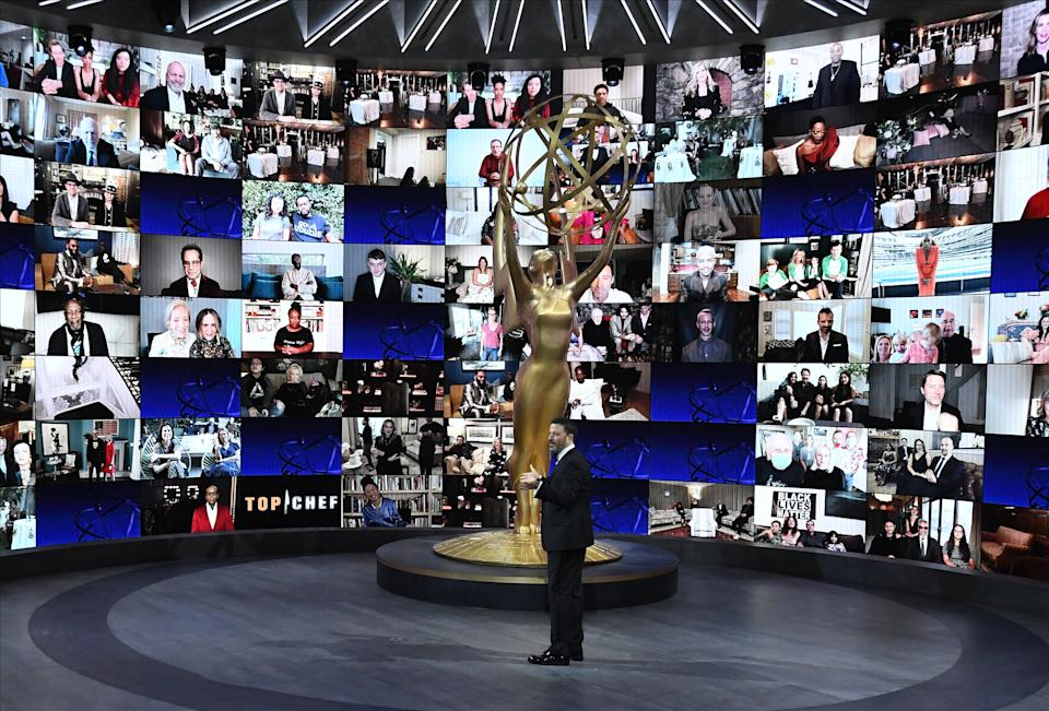 Jimmy Kimmel opens the 72nd Primetime Emmys. (ABC via Getty Images)