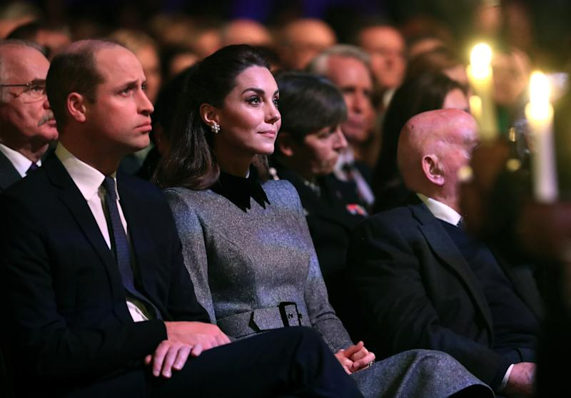 Prince William, Duke of Cambridge and Catherine, Duchess of Cambridge attend the UK Holocaust Memorial Day Commemorative Ceremony in Westminster on January 27, 2020 in London, England. 2020 marks the 75th anniversary of the liberation of Auschwitz-Birkenau. Holocaust memorial day takes place annually on the 27th of January, remembering the liberation of Auschwitz-Birkenau, and honoring survivors of the Holocaust, Nazi Persecution, and subsequent genocides in Bosnia, Cambodia, Rwanda, Darfur.