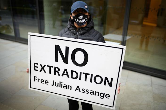 Supporters of Julian Assange say he should not be sent to the US (Getty)