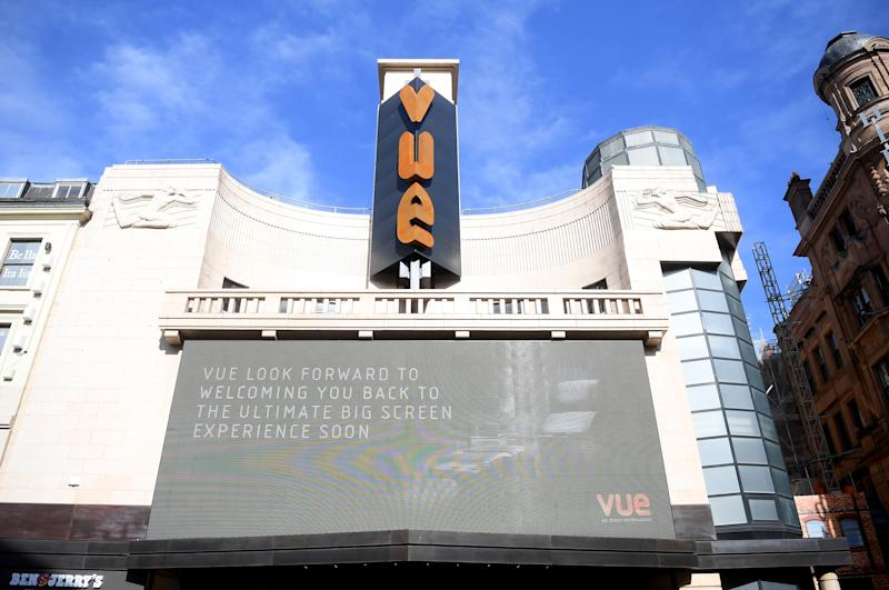 Vue Cinema in London's Leicester Square on March 21, 2020. (Photo by Alex Davidson/Getty Images)