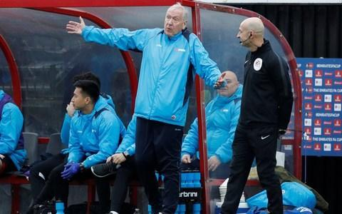 <span>Sky Sports commentator Martin Tyler was in the Woking dugout</span> <span>Credit: Reuters </span>