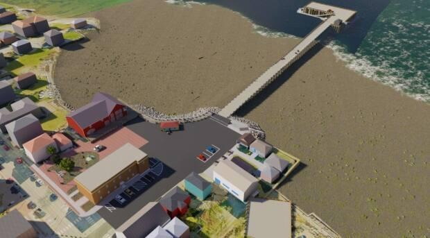 Saint Andrews council chose concrete for the wharf over the other options, wood and large blocks of stone cut from a quarry. (Town of Saint Andrews - image credit)