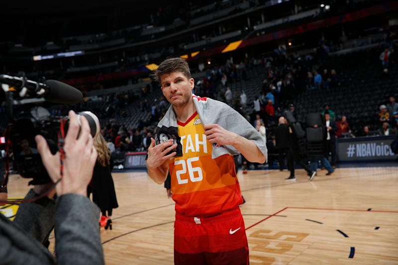 Utah Jazz guard Kyle Korver (26) in the second half of an NBA basketball game Thursday, Feb. 28, 2019, in Denver. The Jazz won 111-104. (AP Photo/David Zalubowski)