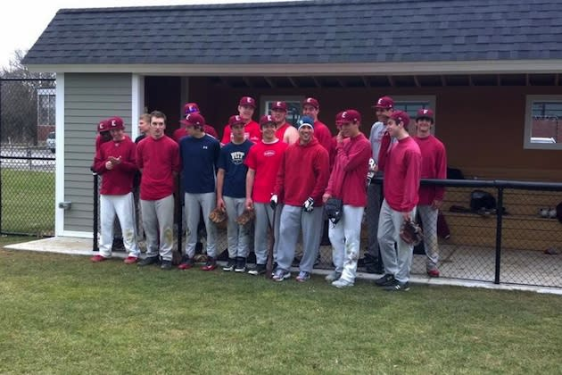 Sam Fuld, in a navy winter hat, still fits in with the Phillips Exeter baseball team — Twitter
