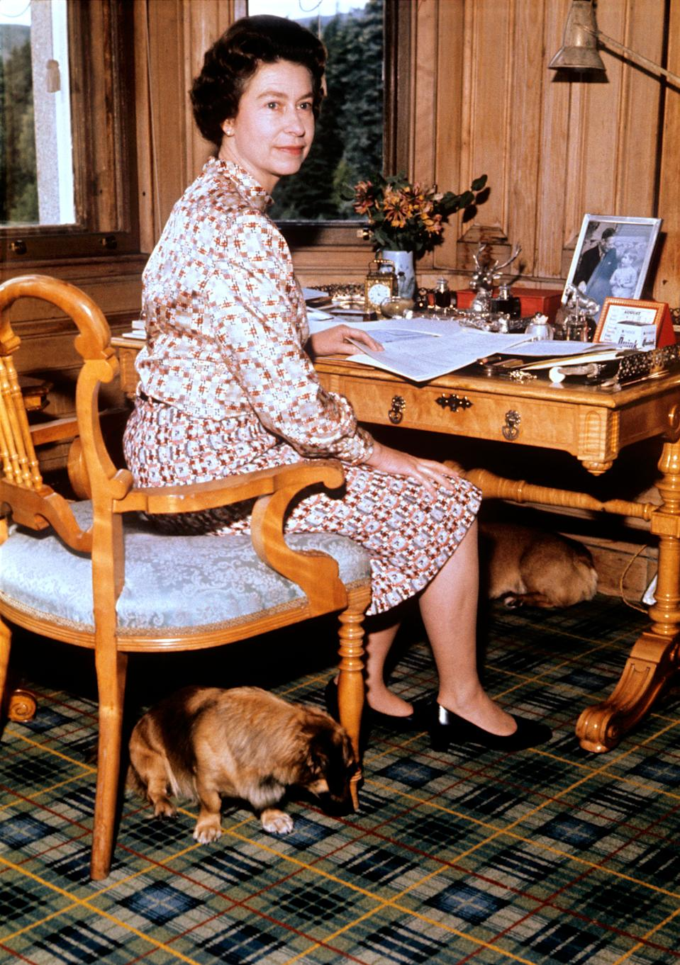 The Queen in her study at Balmoral.