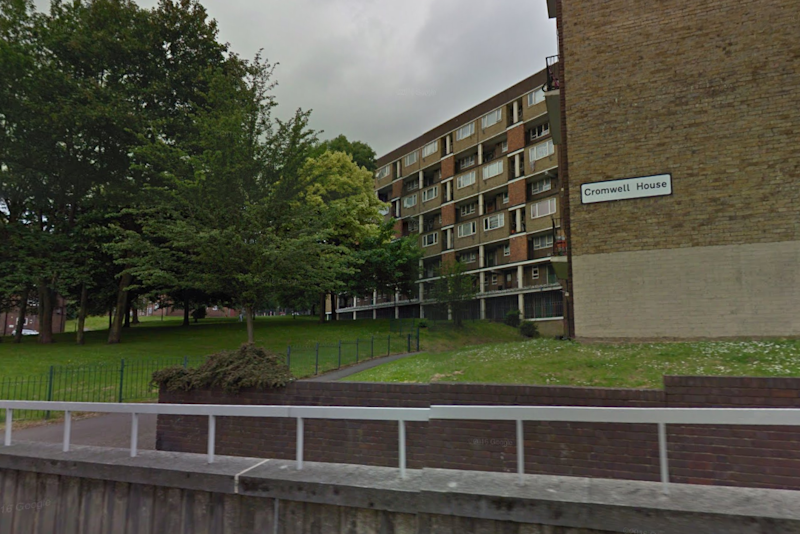 Police investigation: A man was seriously injured after he fell from a balcony in Cromwell House, Croydon: Google