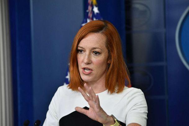 PHOTO: White House Press Secretary Jen Psaki holds a press briefing in the Brady Briefing Room of the White House, May 5, 2021. (Nicholas Kamm/AFP via Getty Images)
