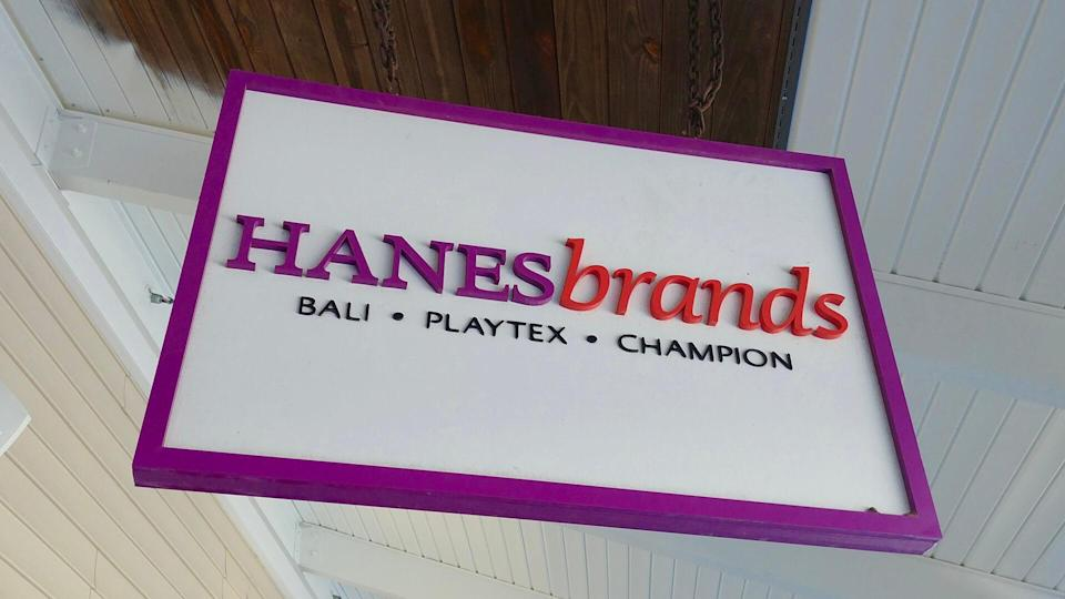 Sign for the Hanes Brands store at Wrentham Village Premium Outlets