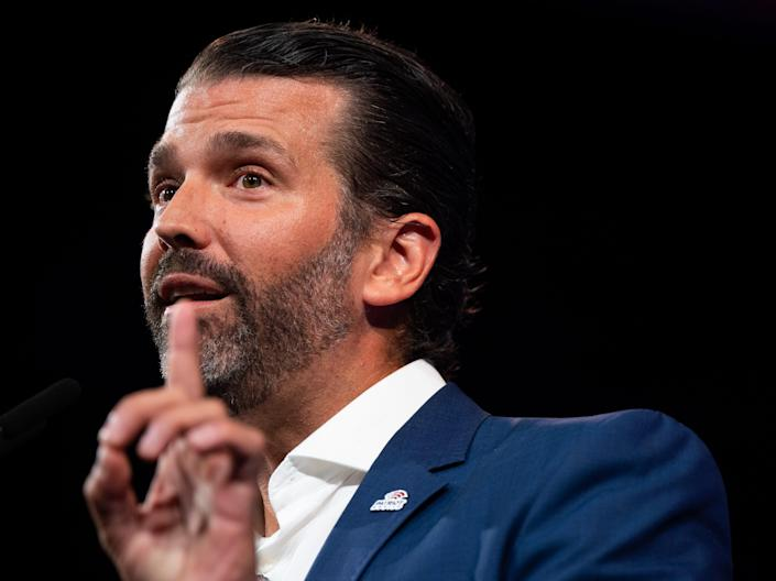 Donald Trump Jr. speaks during the Conservative Political Action Conference (CPAC) in Dallas, TX on July 9, 2021.
