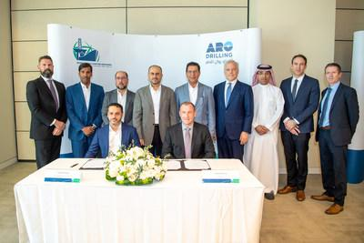 International Maritime Industries CEO, Mr. Fathi Al Saleem, and ARO Drilling's CEO, MR. Kelly McHenry, signing the Two New Build Rig Orders in attendance of International Maritime Industries Chairman, Mr. Ahmad A. Al-Sa'adi, Senior vice president, Technical Services of Saudi Aramco and other board and management representatives from the two companies.