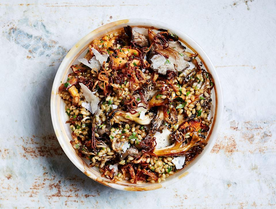 "Any chewy grain, such as wheat berries, farro, or even brown rice, can replace the barley. <a href=""https://www.bonappetit.com/recipe/herby-barley-salad-with-butter-basted-mushrooms?mbid=synd_yahoo_rss"" rel=""nofollow noopener"" target=""_blank"" data-ylk=""slk:See recipe."" class=""link rapid-noclick-resp"">See recipe.</a>"