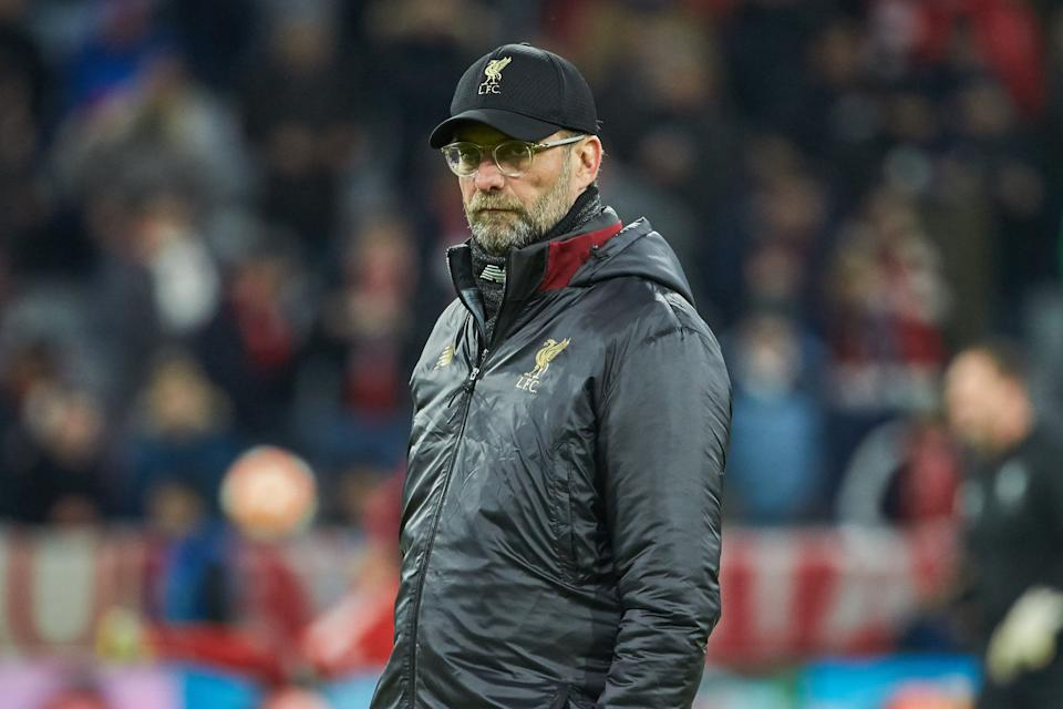 MUNICH, GERMANY - MARCH 13: head coach Juergen Klopp of Liverpool looks on during the UEFA Champions League Round of 16 Second Leg match between FC Bayern Muenchen and Liverpool at Allianz Arena on March 13, 2019 in Munich, Germany. (Photo by TF-Images/Getty Images)