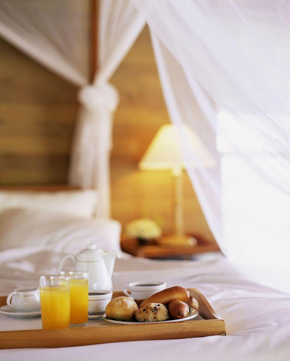 """<p>Start your day off right with a luxurious breakfast in bed, served with an array of baked goods as well as a fresh pot of coffee.</p><p><a class=""""link rapid-noclick-resp"""" href=""""https://www.amazon.com/Cozihoma-Breakfast-Foldable-Portable-Watching/dp/B07FDKDNGK/?tag=syn-yahoo-20&ascsubtag=%5Bartid%7C10050.g.805%5Bsrc%7Cyahoo-us"""" rel=""""nofollow noopener"""" target=""""_blank"""" data-ylk=""""slk:SHOP BED TRAY TABLES"""">SHOP BED TRAY TABLES</a></p>"""