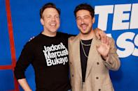 <p>Jason Sudeikis and Marcus Mumford pose at Warner Bros. Television's <em>Ted Lasso</em> season 2 premiere in L.A. on July 15.</p>