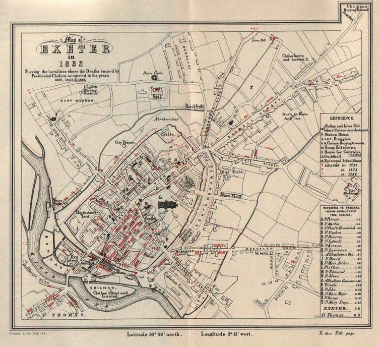 A map with red markings showing localities which experienced death from cholera.