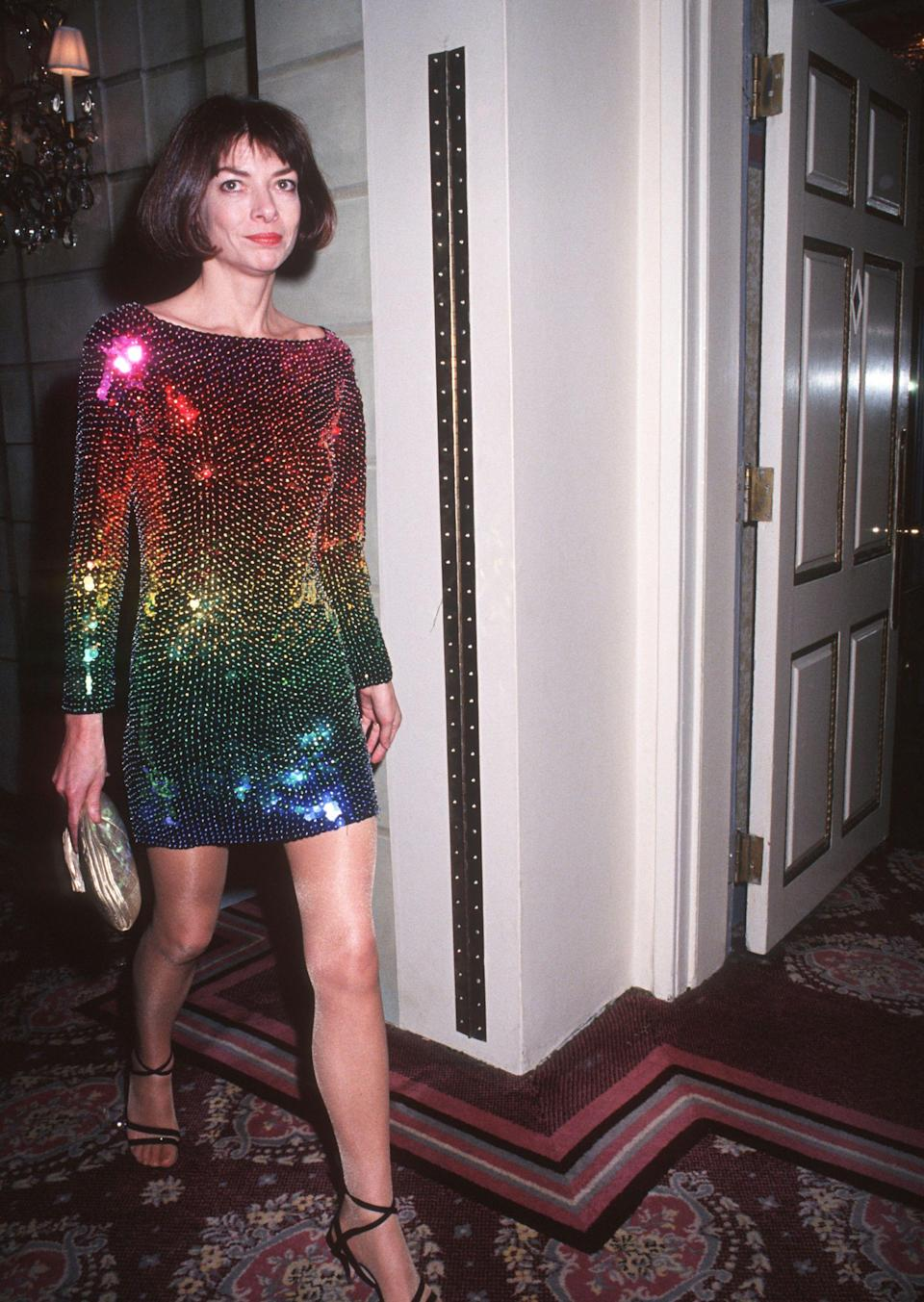 THEN: On an evening in 1990, Anna Wintour made a bold statement in a rainbow sequin party dress. Her love of shimmery sequins has been palpable throughout the years—a trend we saw all over the runways this S/S 18.