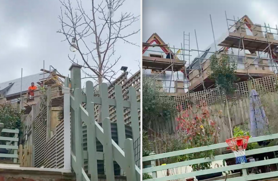 Chris Copley-Hammond filmed his argument with the builders working at the house next door. (SWNS)