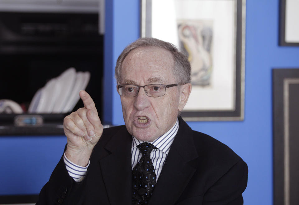 """Attorney and law professor Alan Dershowitz discusses allegations of sex with an underage girl levelled against him, during an interview at his home in Miami Beach January 5, 2015. Buckingham Palace denied on Friday allegations made in Florida court documents by a woman, who said she was forced as a minor by financier Jeffrey Epstein to have sex with several people, including Prince Andrew, the second son of Queen Elizabeth. Another of those named by the woman, Dershowitz, said he has assembled a team of """"eminent"""" lawyers to fight the sexual abuse allegations made against him in last week's filing in Florida federal court.   REUTERS/Andrew Innerarity (UNITED STATES - Tags: CRIME LAW)"""