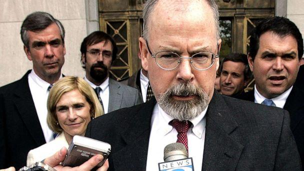 PHOTO: John Durham, a federal prosecutor in Connecticut, speaks to reporters on the steps of U.S. District Court in New Haven, Conn. in this April 25, 2006 file photo. (Bob Child/AP, FILE)