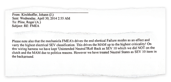 """In this 2014 email excerpt, Ford engineer Johann Kirchhoffer describes """"failure mode and effects analysis"""" severity ratings. Kirchhoffer discussed """"political"""" influence on the ratings to a supervisor who was seeking information for company lawyers."""