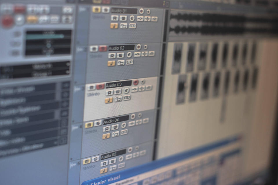 In this Thursday, Nov. 21, 2019 photo, a view of an audio mixing software used by Moroccan rapper Yahya Semlali, 31, known as LZ3er, in his studio in Fes, Morocco. (AP Photo/Mosa'ab Elshamy)