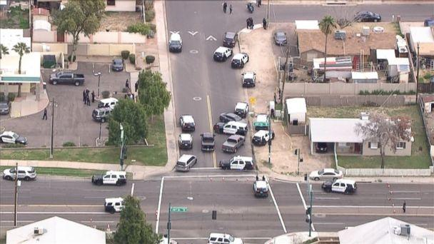 PHOTO: Police surround the area where an officer fatally shot 14-year-old Antonio Arce as he was allegedly burglarizing a car in Tempe, Ariz., on Tuesday, Jan. 15, 2019. (KNXV)