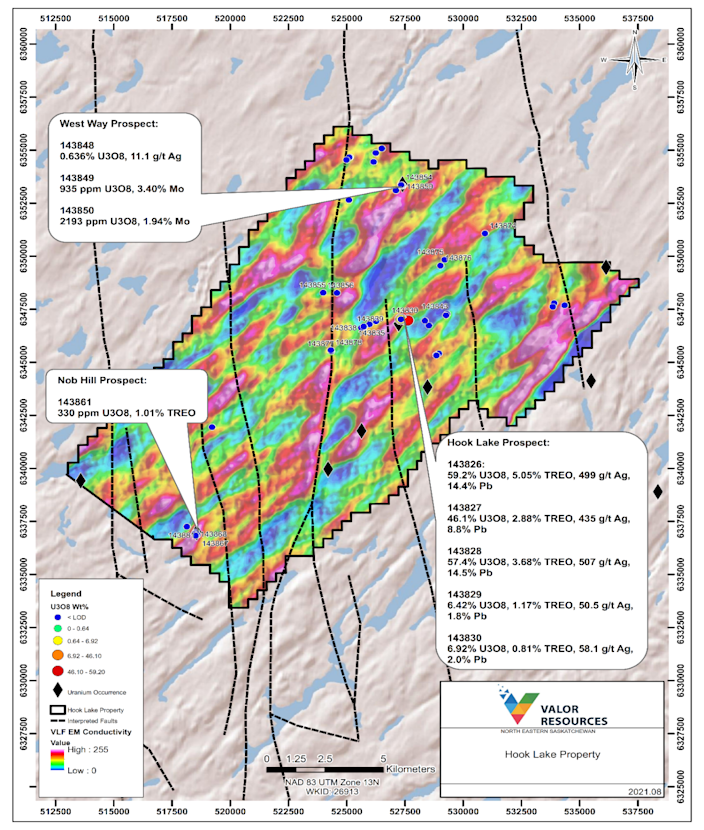 Map 1: Samples results across the Hook Lake Property