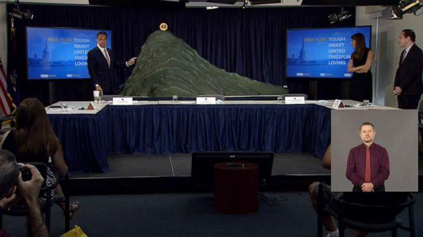 PHOTO: In an image made from video, New York Governor Andrew Cuomo makes a point about the novel coronavirus outbreak in New York while using a model during a press conference on June 29, 2020. (New York Governor's Office)