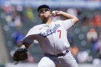 Los Angeles Dodgers' Julio Urias pitches against the San Francisco Giants during the first inning of a baseball game in San Francisco, Sunday, May 23, 2021. (AP Photo/Jeff Chiu)