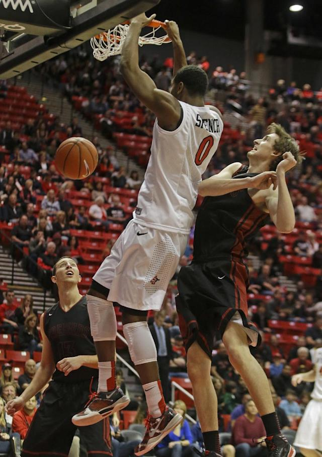 San Diego State's Skylar Spencer, center, dunks for a basket over Saint Katherine's Alex Perez, left, and Jonathan Wood during the first half of an NCAA college basketball game on Friday Dec. 27, 2013, in San Diego. (AP Photo/Lenny Ignelzi)