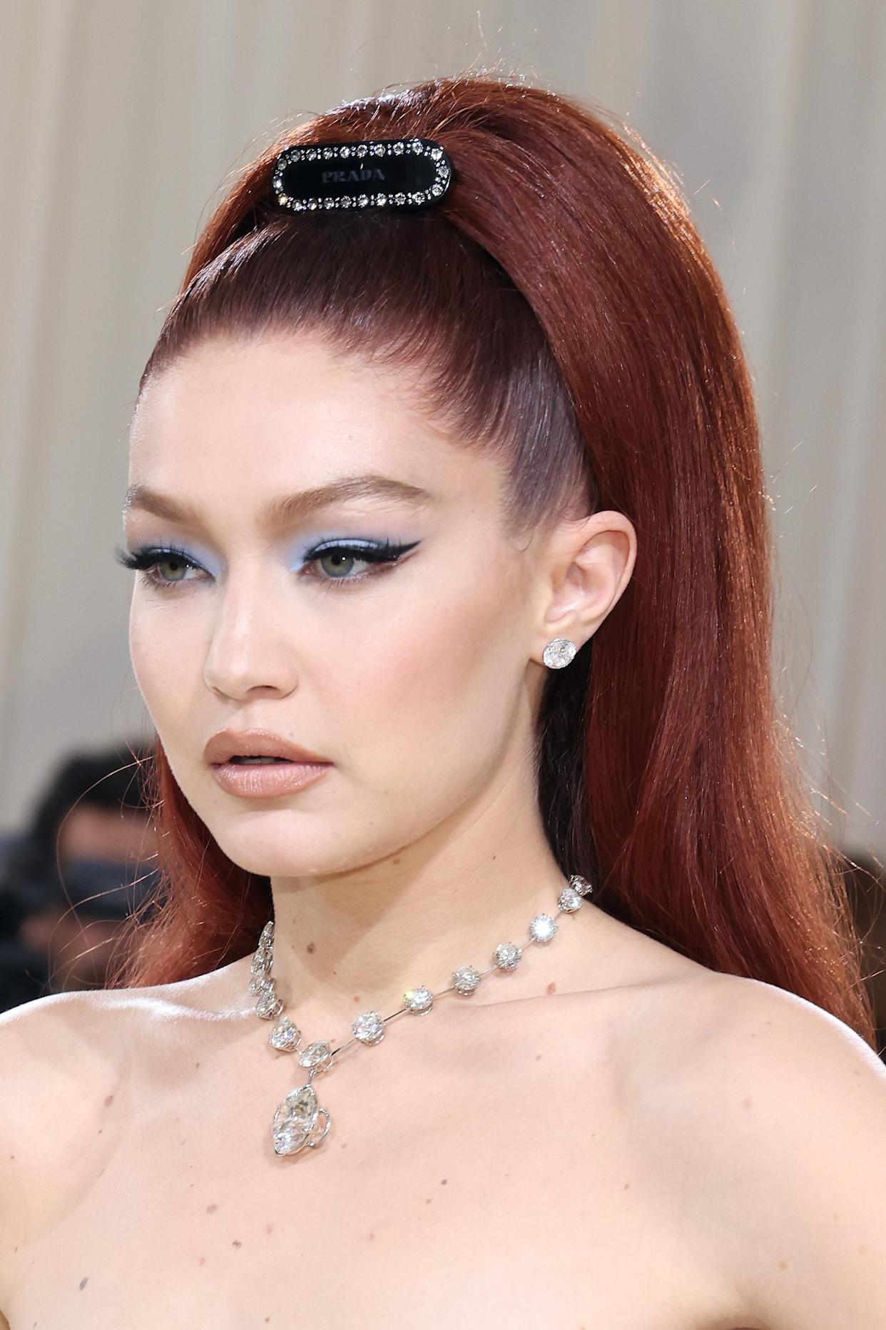 Gigi Hadid boasted a glowing complexion, thanks to Maybelline's affordable concealer at the 2021 Met Gala. (Getty Images)