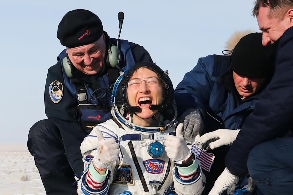 KAZAKHSTAN - FEBRUARY 6, 2020: ISS Expedition 61 crew member, US astronaut Christina Koch (NASA) after the landing of the space capsule of the Soyuz MS-13 spacecraft carrying the ISS Expedition 61 crew members in a steppe, 147 km south-west of the city of Zhezqazghan. Alexander Ryumin/TASS (Photo by Alexander Ryumin\TASS via Getty Images)