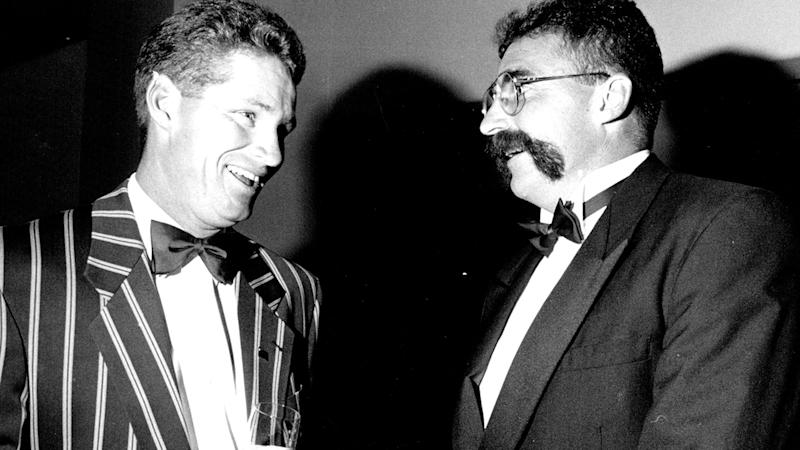 Dean Jones and Merv Hughes, pictured here at an Allan Border tribute dinner in 1994.