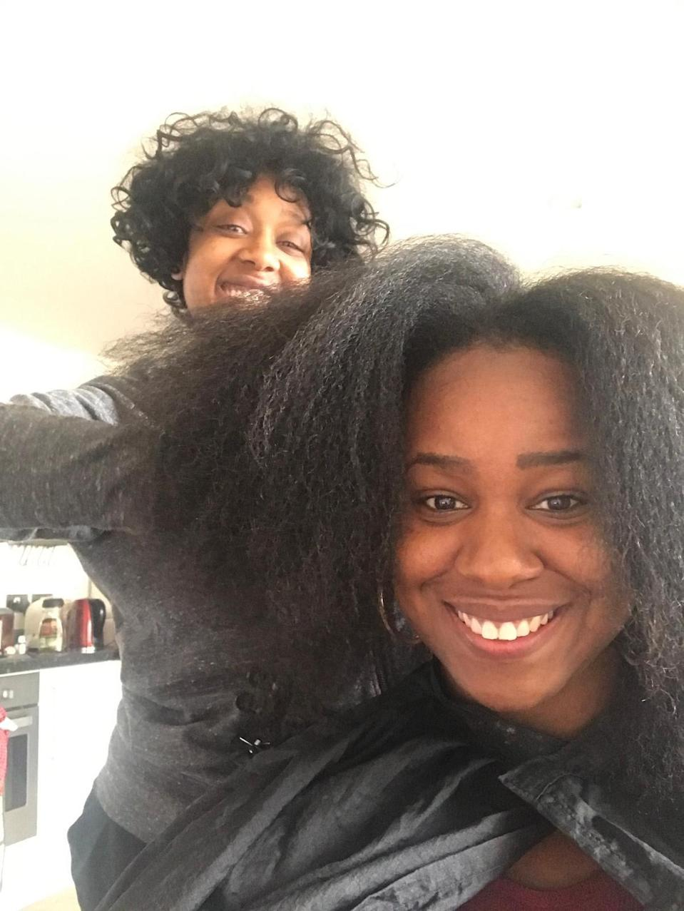 """""""The beautiful Ginnie about to do the best twist-out ever."""""""