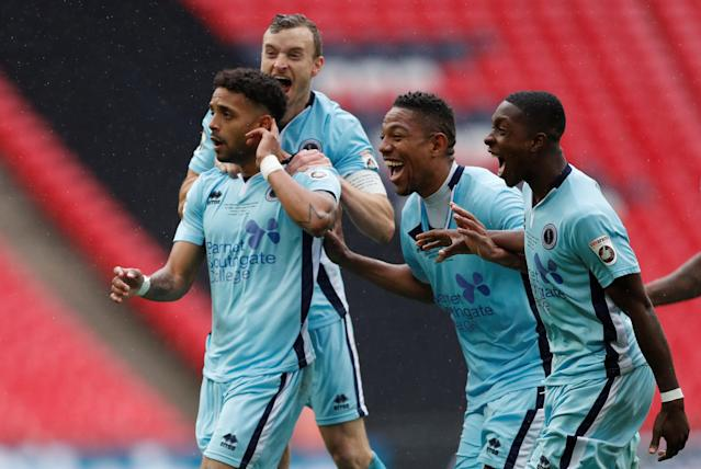 Soccer Football - National League Promotion Final - Tranmere Rovers v Boreham Wood - Wembley Stadium, London, Britain - May 12, 2018 Boreham Woods' Bruno Andrade celebrates scoring their first goal with team mates Action Images/Matthew Childs