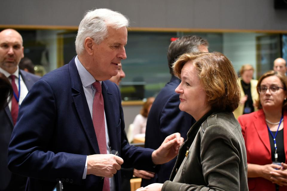 French Europe minister Nathalie Loiseau in conversation with compatriot Michel Barnier, the EU's chief Brexit negotiator (Getty)