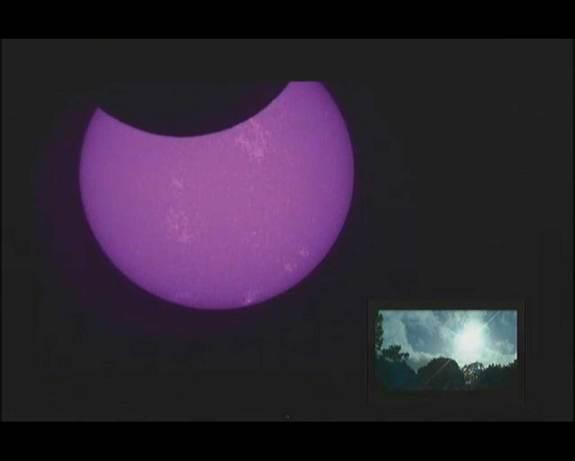 Some of the first views of the annular solar eclipse on May 10, 2013 came in from a webcast hosted by the Coca-Cola Space Science Center.