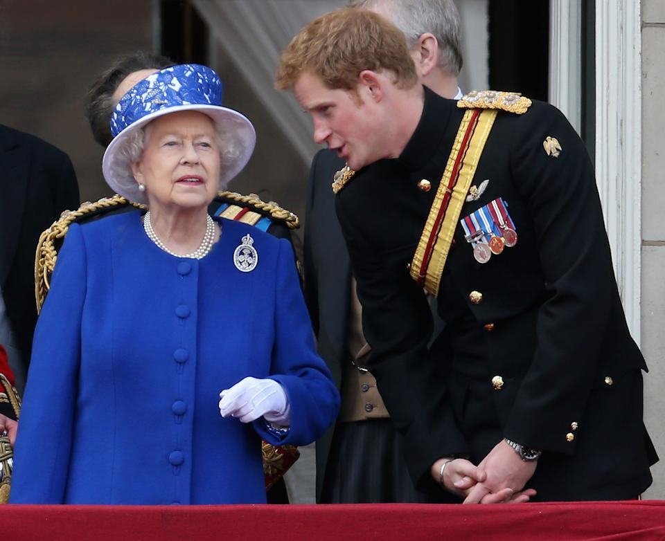 <<enter caption here>> on June 15, 2013 in London, England. Today's ceremony which marks the Queens official birthday will not be attended by Prince Philip the Duke of Edinburgh as he recuperates from abdominal surgery and will also be The Duchess of Cambridge's last public engagement before her baby is due to be born next month.