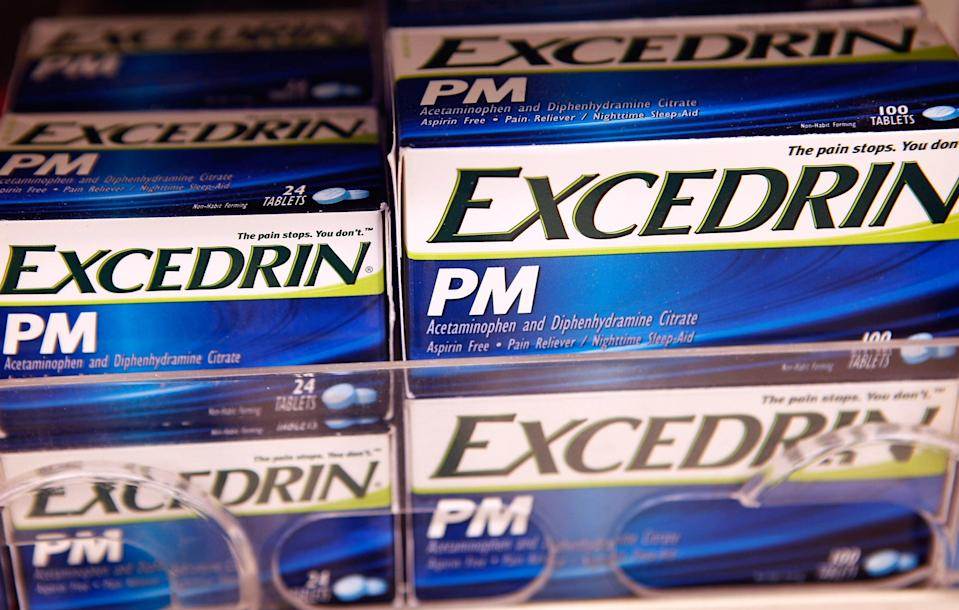 Excedrin PM is sold over-the-counter at a drugstore June 30, 2009 in Chicago, Illinois. More than 430,000 bottles of painkillers under the Excedrin brand have been recalled due to a manufacturing defect that may have left holes in the bottom of Excedrin bottles.