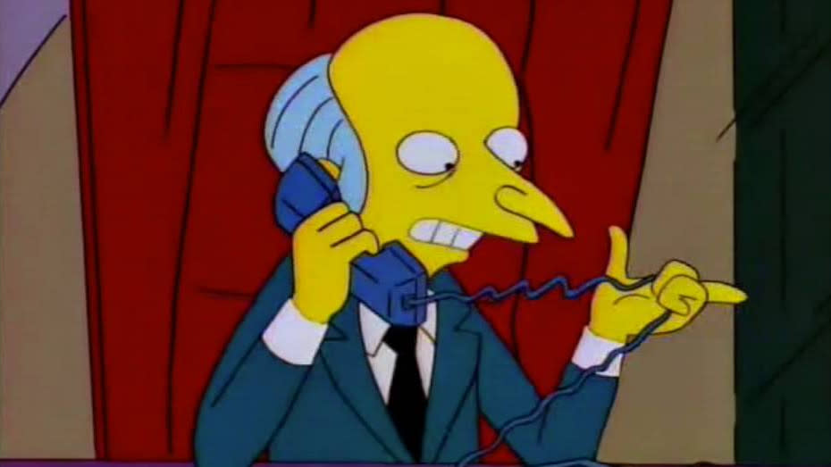 Mr Burns has a unique method of answering the phone on 'The Simpsons'. (Credit: Fox)