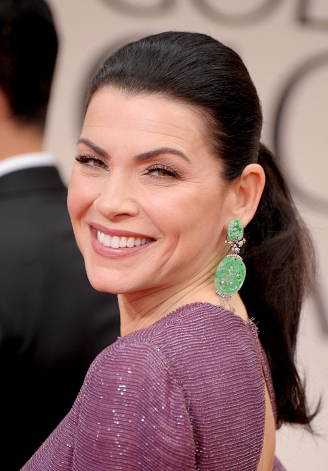 WORST: Julianna Margulies arrives at the 69th Annual Golden Globe Awards in Beverly Hills, California, on January 15.