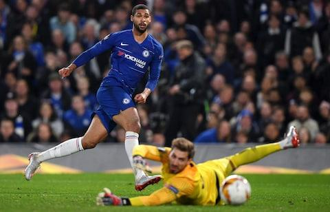 Chelsea's Ruben Loftus-Cheek jumps up as he celebrates scoring his side's first goal during the Europa League semifinal second leg soccer match between FC Chelsea and Eintracht Frankfurt - Credit: Darren Walsh/Chelsea FC via Getty Images