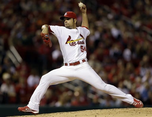 St. Louis Cardinals starting pitcher Jaime Garcia throws during the fifth inning of a baseball game against the Cincinnati Reds, Monday, Oct. 1, 2012, in St. Louis. (AP Photo/Jeff Roberson)