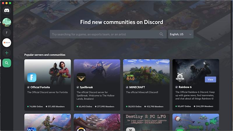Discord users can start private or public servers to build communities and chat with other users.