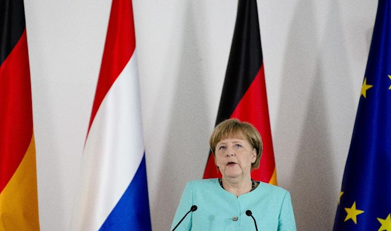 German Chancellor Angela Merkel speaks during a joint press conference with the Dutch Prime Minister, in Eindhoven on April 21, 2016 (AFP Photo/Bart Maat)