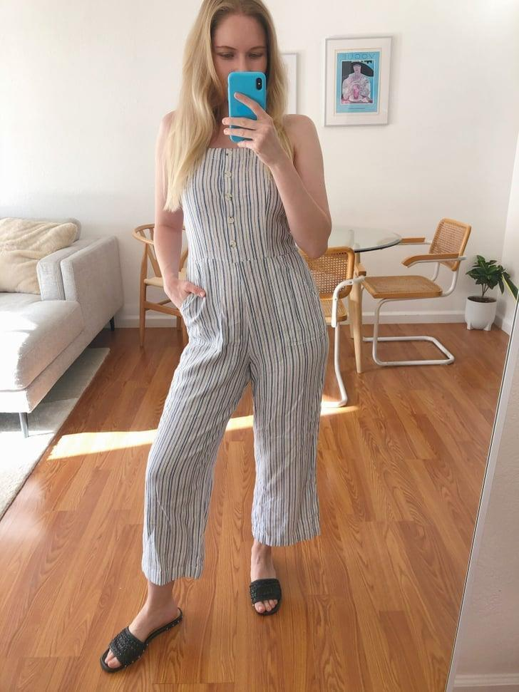 """<p><strong>The item</strong>: <span>Old Navy Striped Linen-Blend Cami Jumpsuit</span> ($35, originally $45) </p> <p><strong>What our editor said:</strong> """"The striped design gives it a fun edge, but it's still neutral enough to easily mix into my wardrobe. Plus, it comes with pockets, and who doesn't love that?! The biggest selling point, though, is that it's just beyond versatile and cool. I'm finding myself reaching for it daily, knowing I'll be comfy all day long."""" - KJ</p> <p>If you want to read more, here is the <a href=""""https://www.popsugar.com/fashion/best-lightweight-jumpsuit-from-old-navy-editor-review-47597609"""" class=""""link rapid-noclick-resp"""" rel=""""nofollow noopener"""" target=""""_blank"""" data-ylk=""""slk:complete review"""">complete review</a>.</p>"""