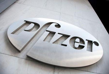 FILE PHOTO: The Pfizer logo at their world headquarters in New York